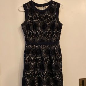Milly blue eyelet dress with pockets Sz 4